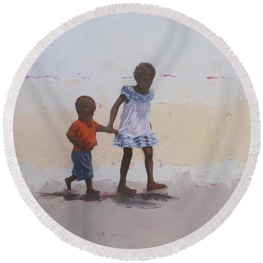 Children Round Beach Towel featuring the painting My Brother by Yvonne Ankerman