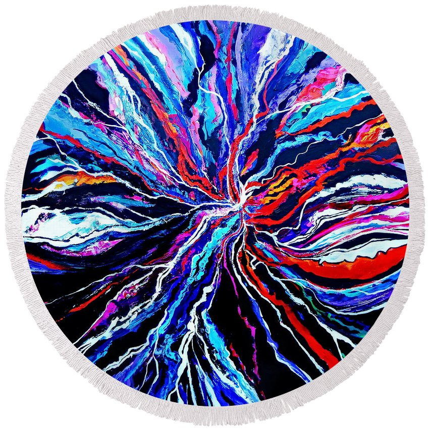 This Seems To Be A Huge Electric Burst Of Energy On Canvas. The Black Background Accentuates The Bright Colored Tendrils Surging Throughout This Dramatic Colorful Modern Contemporary Abstract Artwork . Round Beach Towel featuring the painting My Crush On Tesla by Expressionistart studio Priscilla Batzell