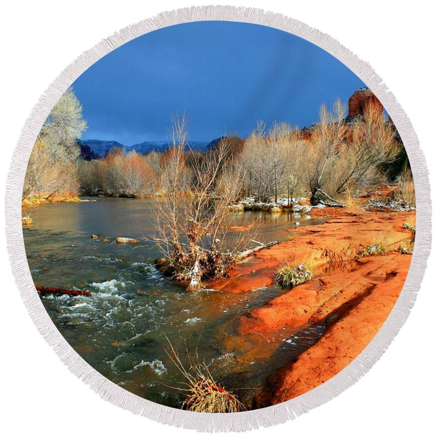 Arizona Round Beach Towel featuring the photograph My December by Miles Stites