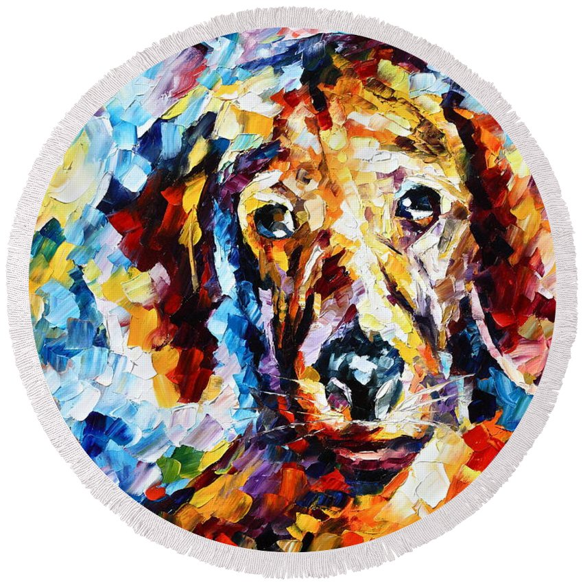 Afremov Round Beach Towel featuring the painting My Friend 3 by Leonid Afremov