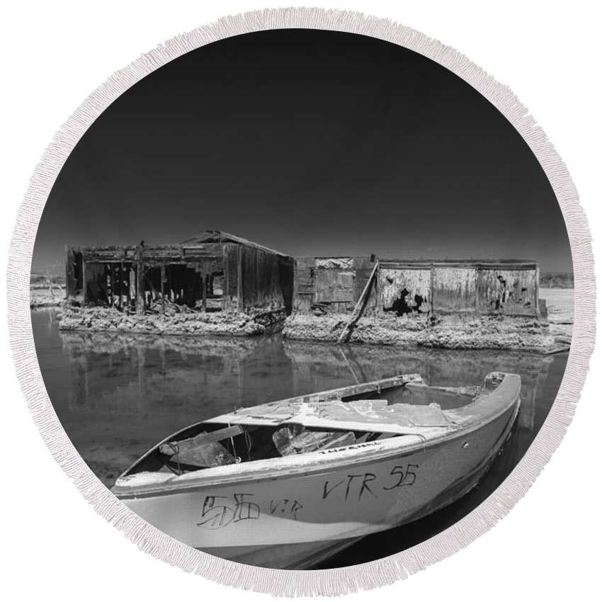 Abandoned Round Beach Towel featuring the photograph My Front Yard Black And White by Scott Campbell