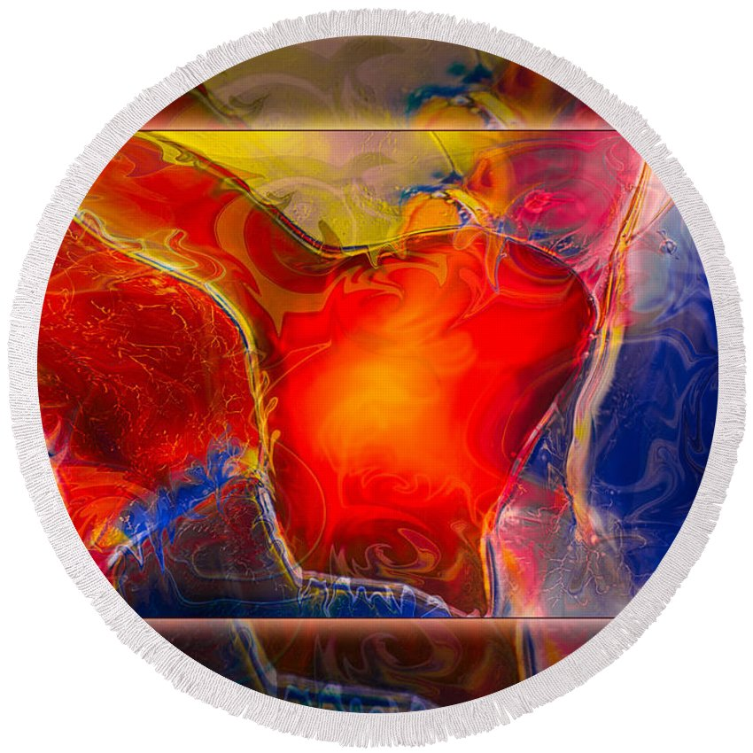 12.11 Round Beach Towel featuring the painting My Heart On My Sleeve An Abstract Painting by Omaste Witkowski