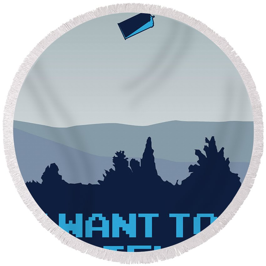 Classic Round Beach Towel featuring the digital art My I Want To Believe Minimal Poster- Tardis by Chungkong Art