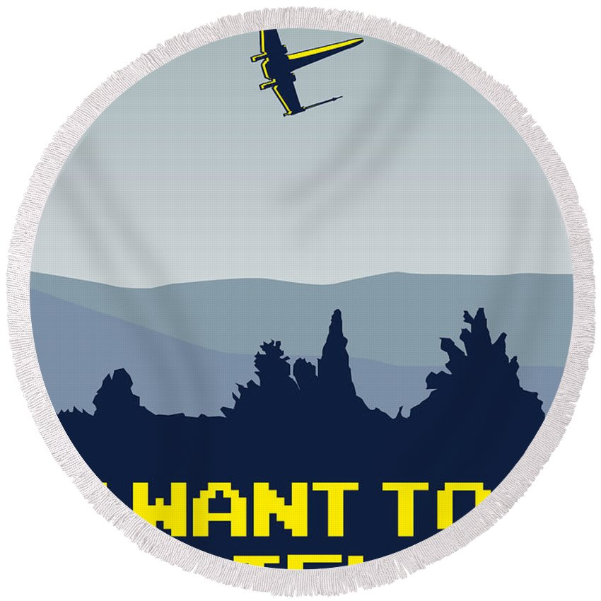Classic Round Beach Towel featuring the digital art My I Want To Believe Minimal Poster- Xwing by Chungkong Art