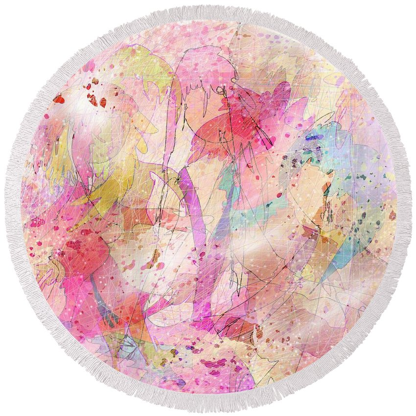 Abstract Round Beach Towel featuring the digital art My Imaginary Friends by Rachel Christine Nowicki