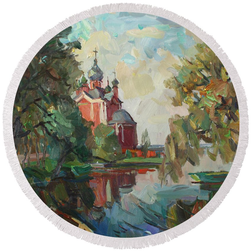 Pereyaslavl-zalessky Round Beach Towel featuring the painting My Kind Autumn by Juliya Zhukova