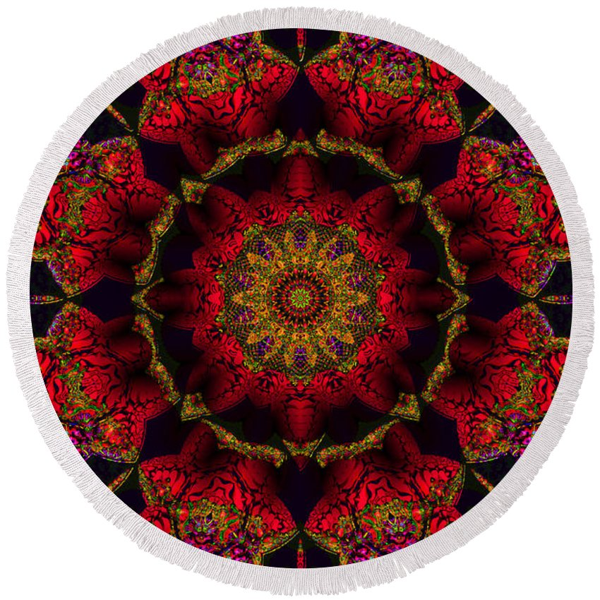 Red Round Beach Towel featuring the digital art My Kind Of Girl by Robert Orinski