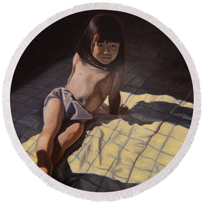 Figure Round Beach Towel featuring the painting My Little Cheese Cake - Wah Zhee Tah by Thu Nguyen