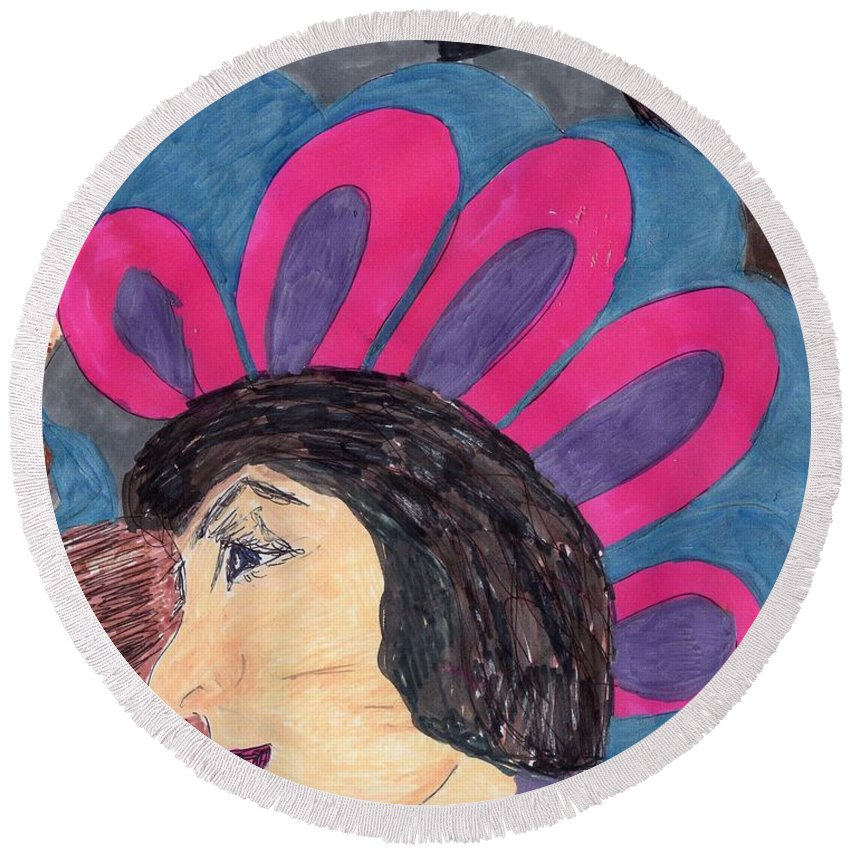 Lady In A Colorful Mohawk Hat Round Beach Towel featuring the mixed media My Mohawk Hat by Elinor Helen Rakowski
