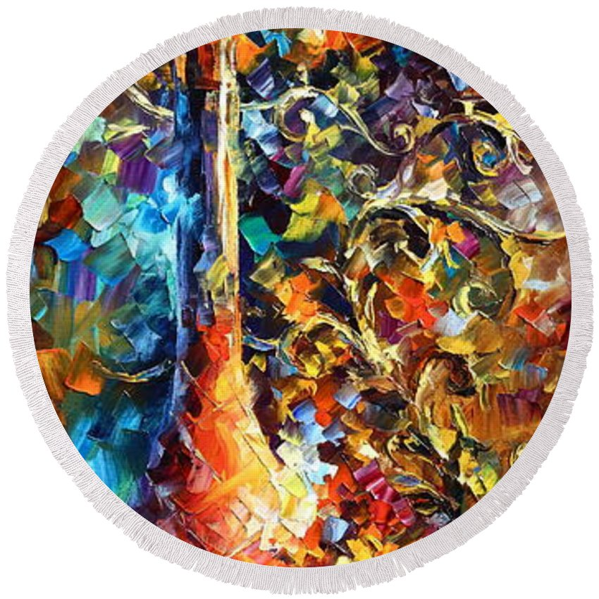 Afremov Round Beach Towel featuring the painting My Old Thoughts 2 by Leonid Afremov