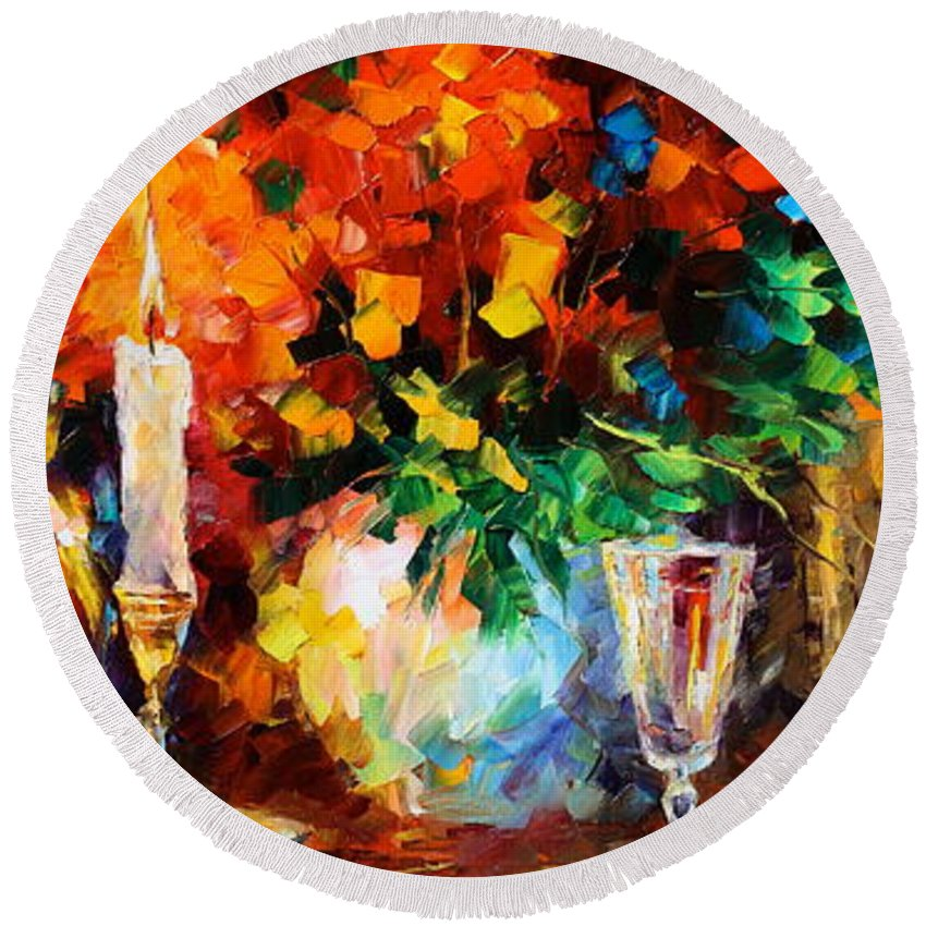 Afremov Round Beach Towel featuring the painting My Old Thoughts by Leonid Afremov
