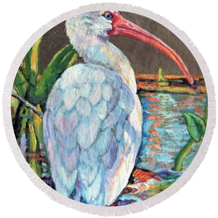 Art Round Beach Towel featuring the painting My One And Only Egret by Lisa Tygier Diamond