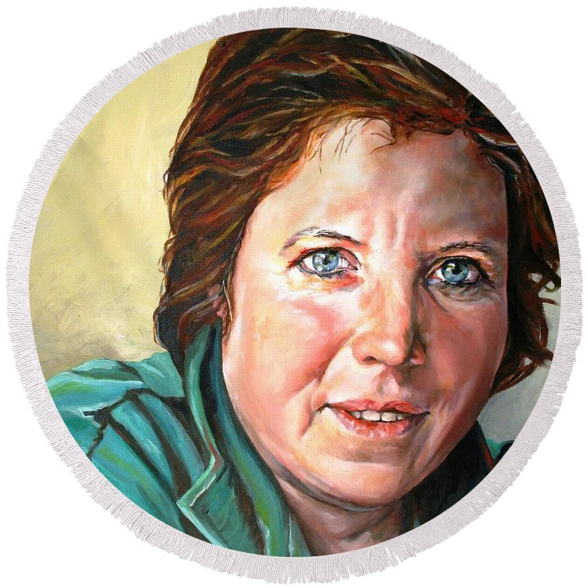 Portrait Round Beach Towel featuring the painting My Sister Louisette by Jolante Hesse