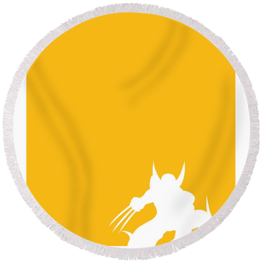 Superheroes Round Beach Towel featuring the digital art My Superhero 05 Wolf Yellow Minimal poster by Chungkong Art
