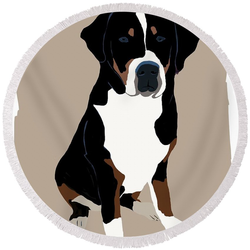 Swiss Mountain Dog Round Beach Towel featuring the painting My Swissy by Karen Harding