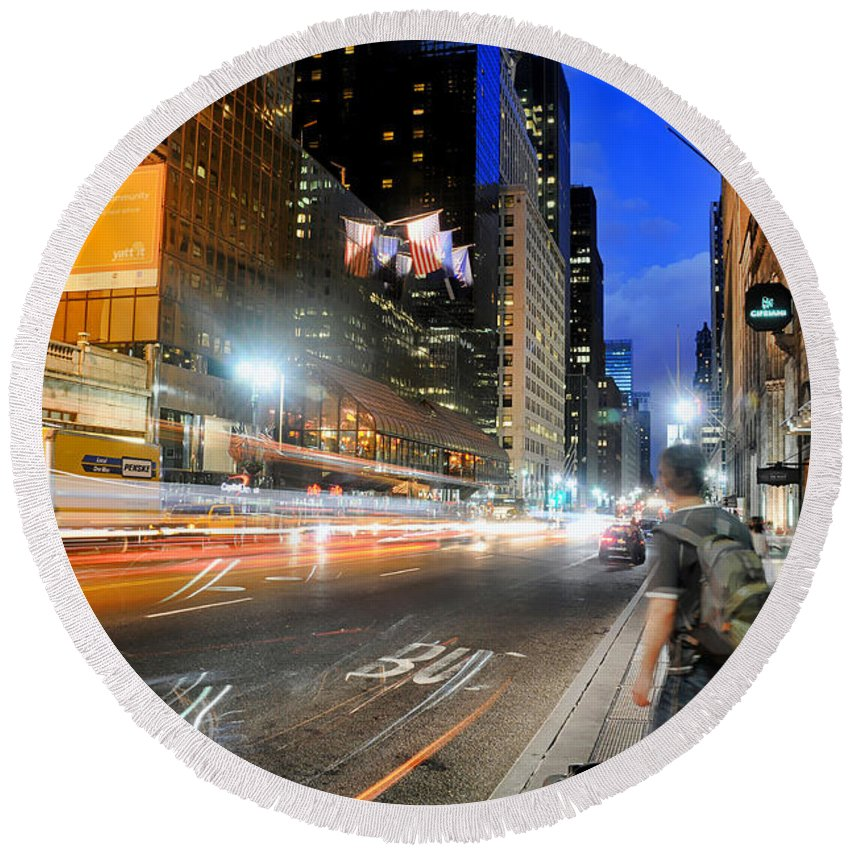 Nyc Round Beach Towel featuring the photograph My Way Home by Diana Angstadt