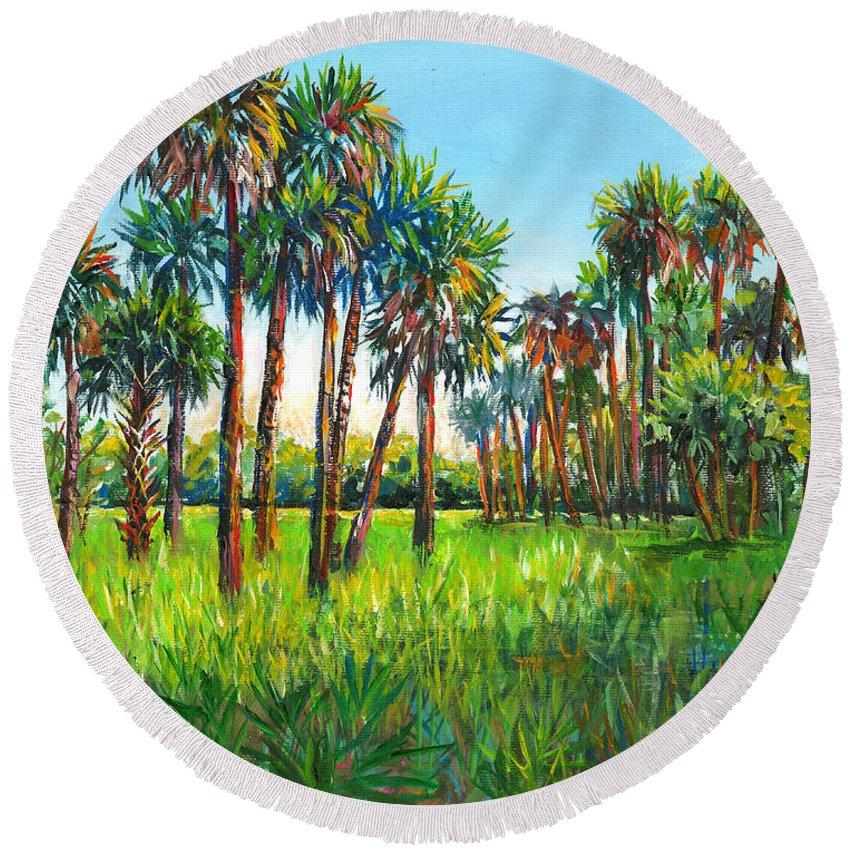 Myakka State Park Round Beach Towel featuring the painting Myakka Palms by Lou Ann Bagnall