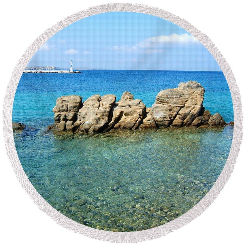 Mykonos Greek Islands Cyclades Aegean Sea Water Ocean Seascape Rocks Turquoise Round Beach Towel featuring the photograph Mykonos Blue Aegean by Brenda Salamone