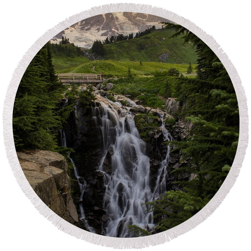Rainier Round Beach Towel featuring the photograph Myrtle Falls Morning Light by Mike Reid