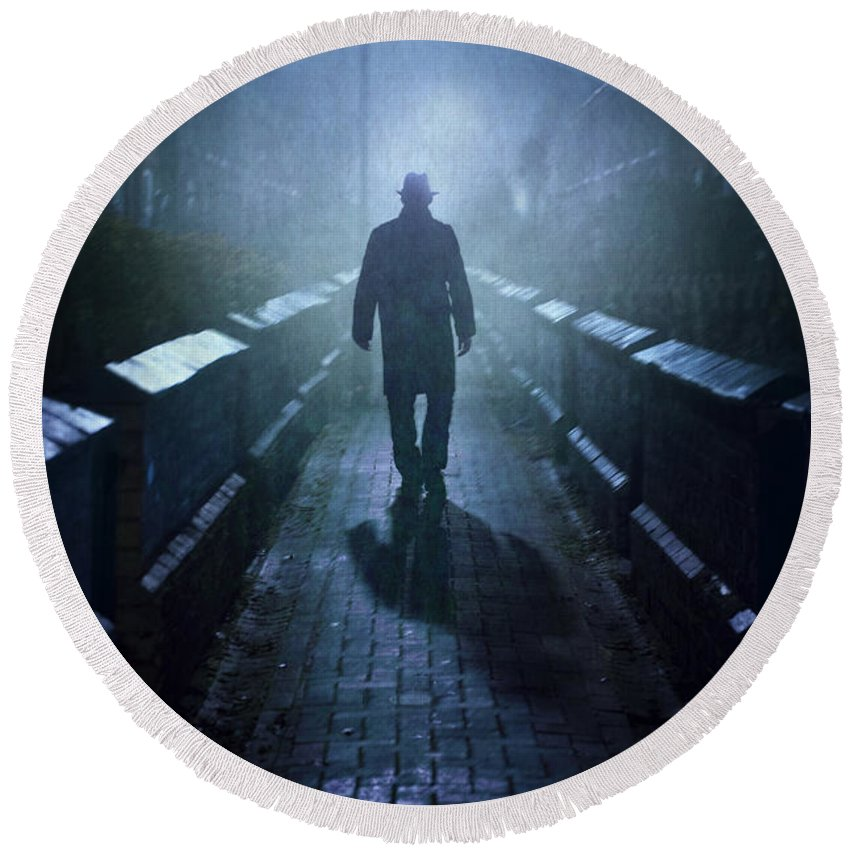 Man Round Beach Towel featuring the photograph Mysterious Man In Fog At Night by Lee Avison