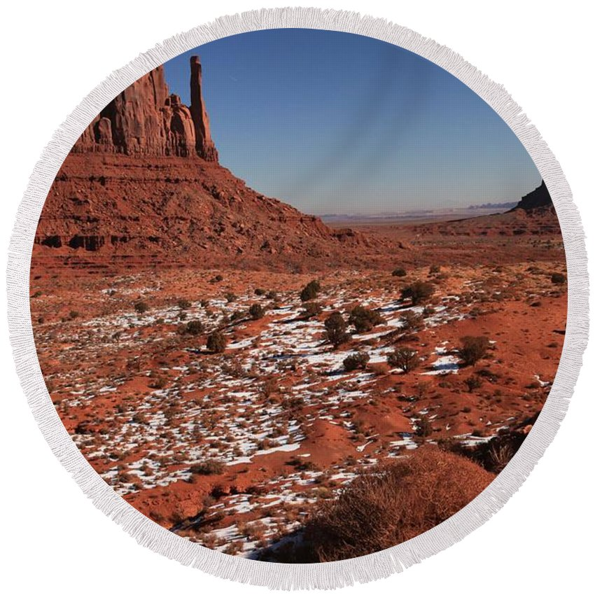 Monument Valley Round Beach Towel featuring the photograph Mysterious Red Rocks by Adam Jewell