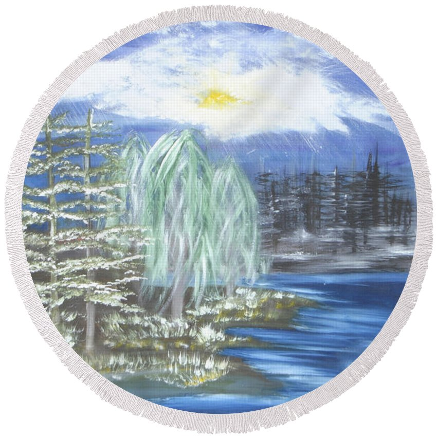 Trees Round Beach Towel featuring the painting Mysterious Trees by Suzanne Surber