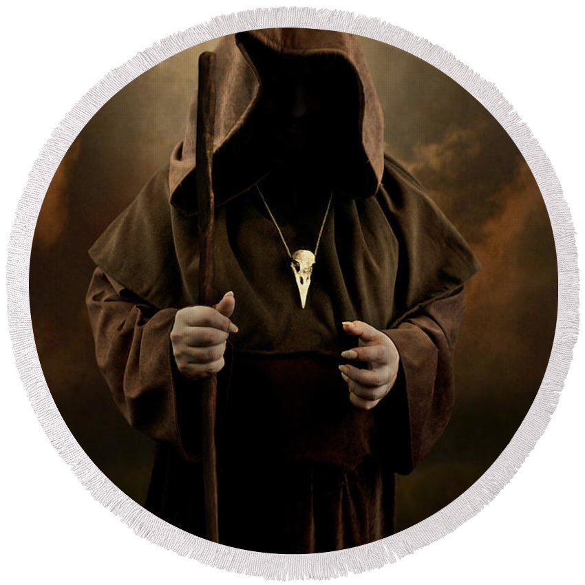 Mystery Man Wearing Cloak With Hood Bird Skull Pendant Holding A Wooden Wizard Staff Round Beach Towel