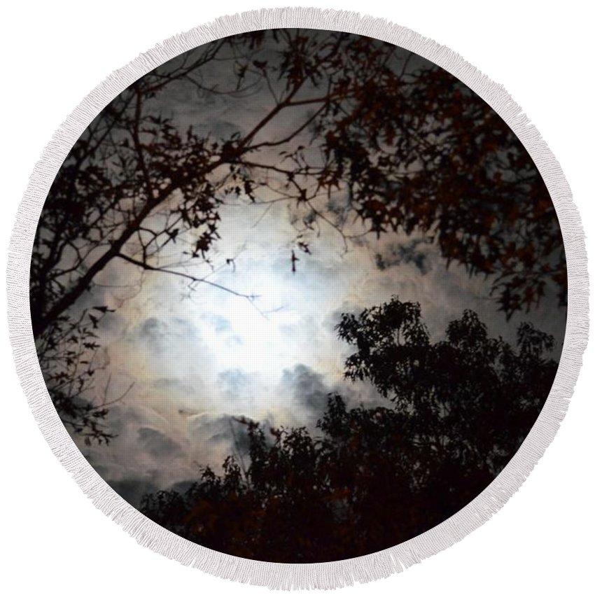 Mystery Of Moonlight Round Beach Towel featuring the photograph Mystery Of Moonlight by Maria Urso