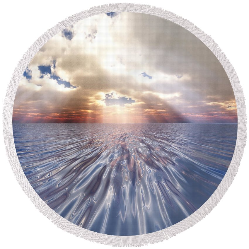 Nature Round Beach Towel featuring the digital art Mystery Sea by Eric Nagel