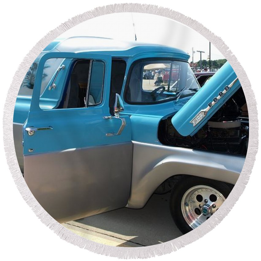 Car Round Beach Towel featuring the photograph Mystic Magic Ford F100 by Cathy Smith