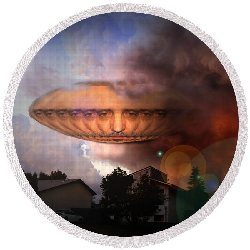 Surrealism Round Beach Towel featuring the digital art Mystic Ufo by Otto Rapp