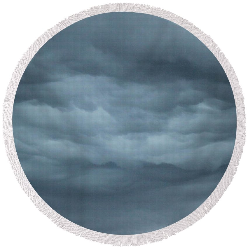 Round Beach Towel featuring the photograph Mystical Clouds by Jennifer E Doll