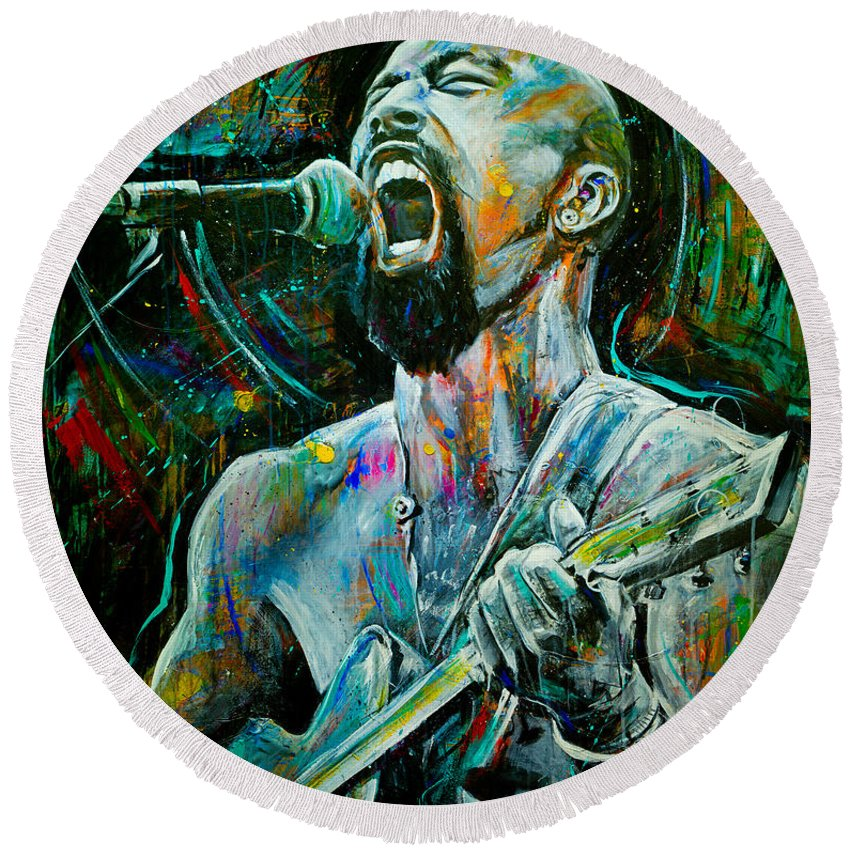 Robyn Chance Round Beach Towel featuring the painting Nahko by Robyn Chance