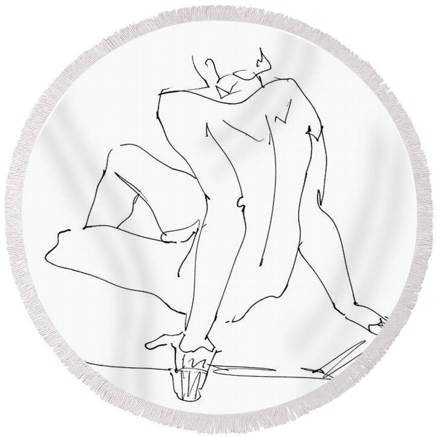 Male Round Beach Towel featuring the drawing Naked-men-art-15 by Gordon Punt