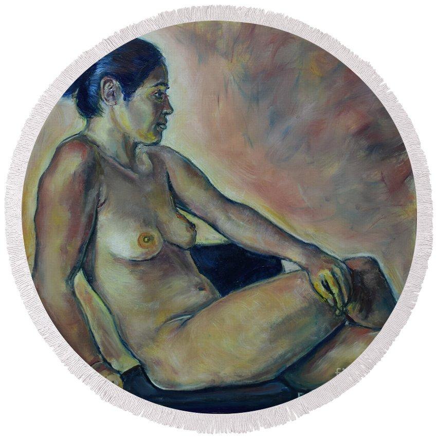 Oil Painting On Canvas Round Beach Towel featuring the painting Naked Suri 2 by Raija Merila