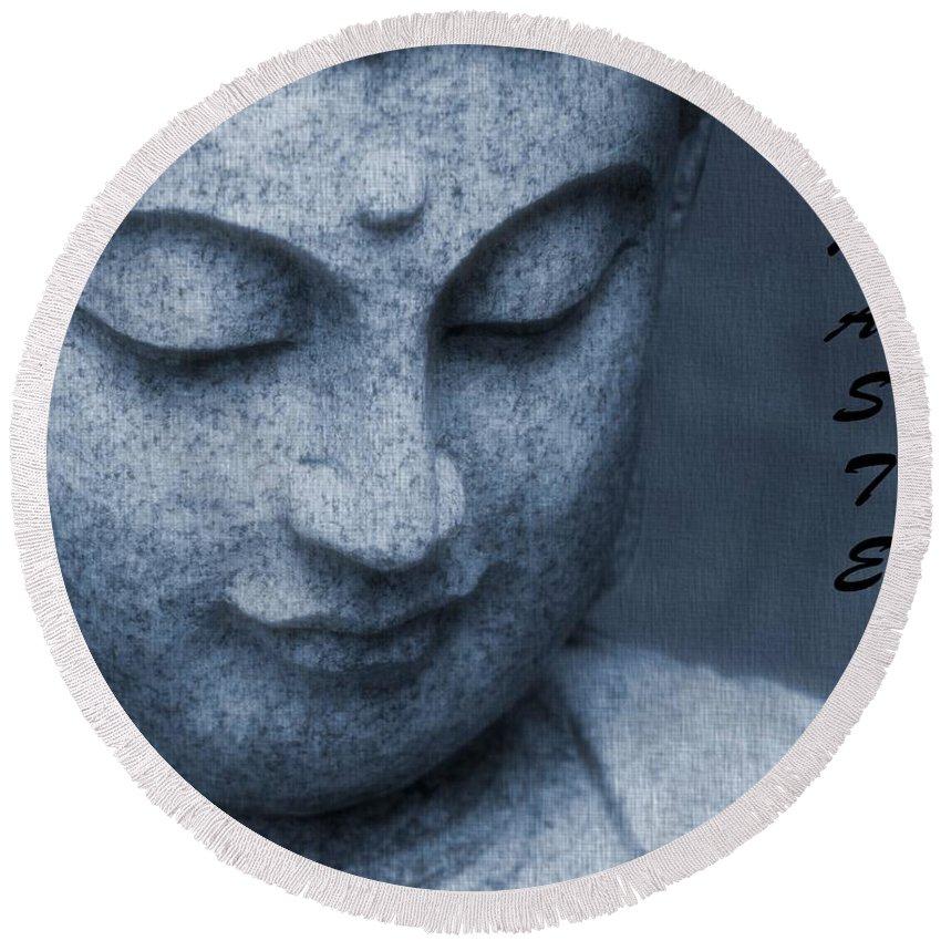 Namaste Round Beach Towel featuring the photograph Namaste Buddha by Dan Sproul