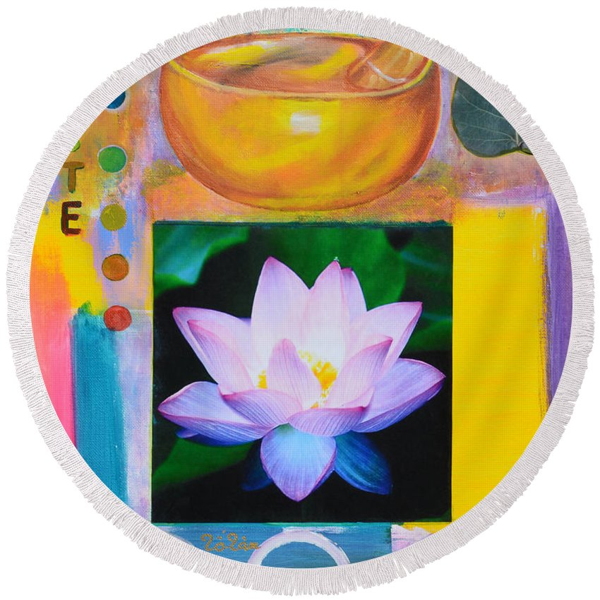 Namaste Round Beach Towel featuring the painting Namaste With Singing Bowl by To-Tam Gerwe