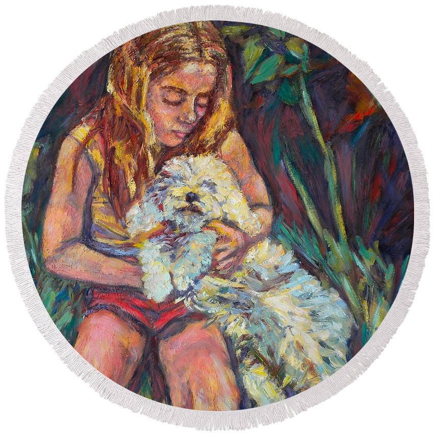 Girl Round Beach Towel featuring the painting Nan And Beau by Kendall Kessler