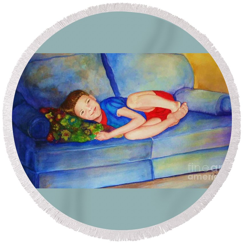 Nap Time Round Beach Towel featuring the painting Nap Time by Jane Ricker