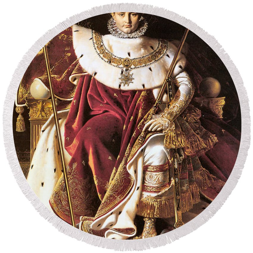 Jean Auguste Dominique Ingres Round Beach Towel featuring the digital art Napoleon I On His Imperial Throne by Jean Auguste Dominique Ingres