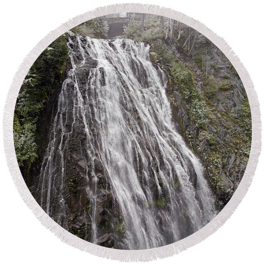 Narada Falls Round Beach Towel featuring the photograph Narada Falls Mt Rainier by Greg Reed