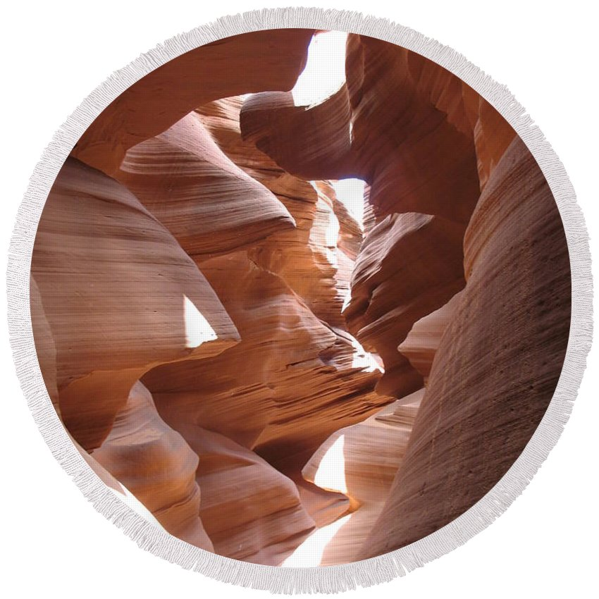 Canyon Round Beach Towel featuring the photograph Narrow Canyon I by Christiane Schulze Art And Photography