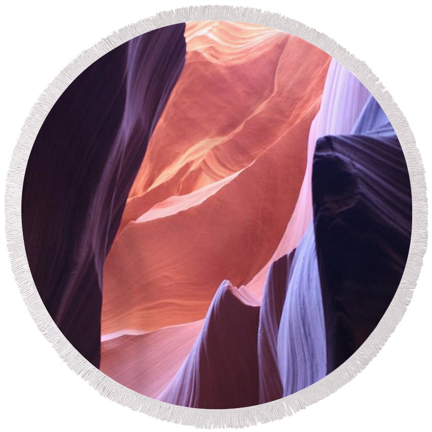 Canyon Round Beach Towel featuring the photograph Narrow Canyon Xvi - Antelope Canyon by Christiane Schulze Art And Photography