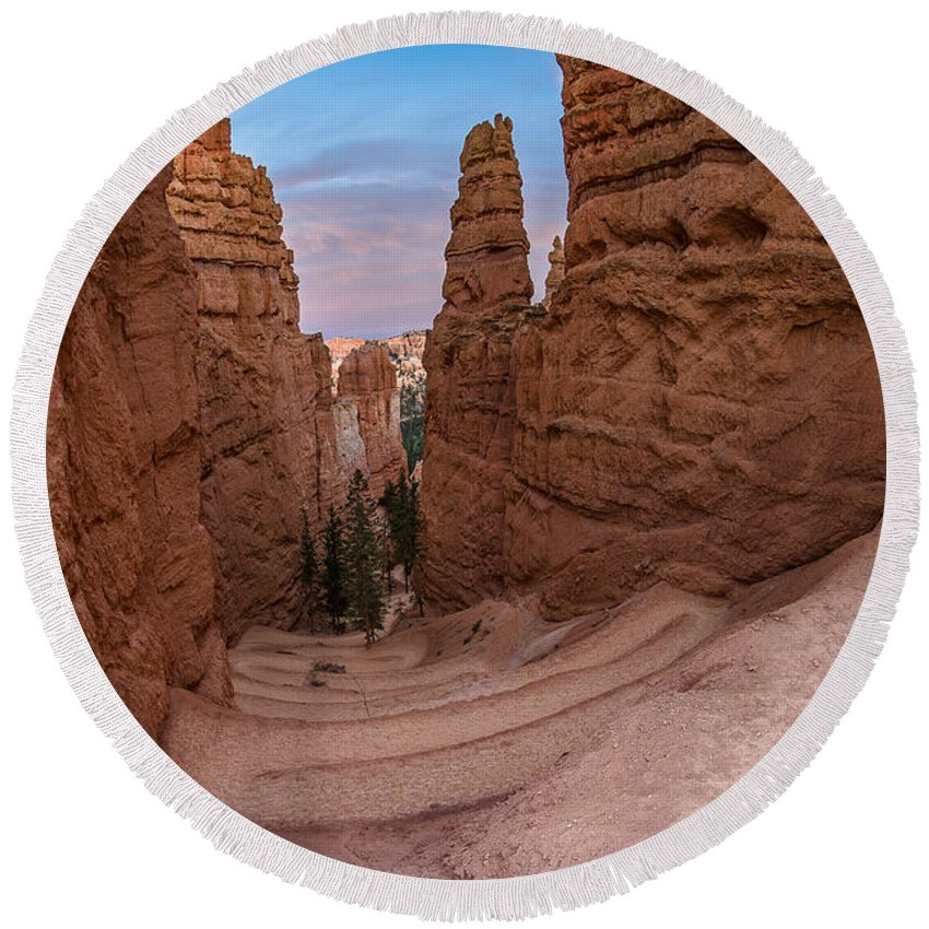 Bryce Canyon Round Beach Towel featuring the photograph Narrow Passage 1 by Greg Nyquist