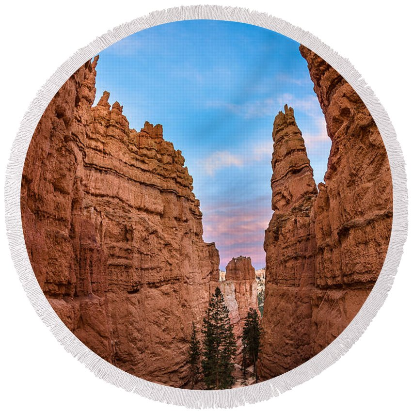 Bryce Canyon Round Beach Towel featuring the photograph Narrow Passage 3 by Greg Nyquist