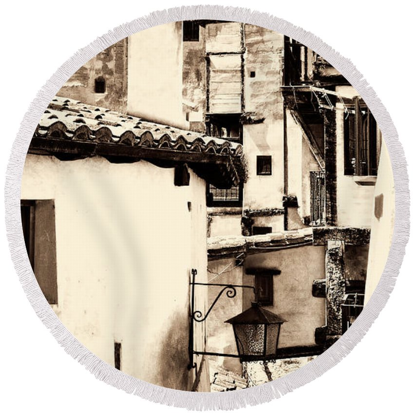 Narrow Street Round Beach Towel featuring the photograph Narrow Streets Of Albarracin Sepia by Weston Westmoreland