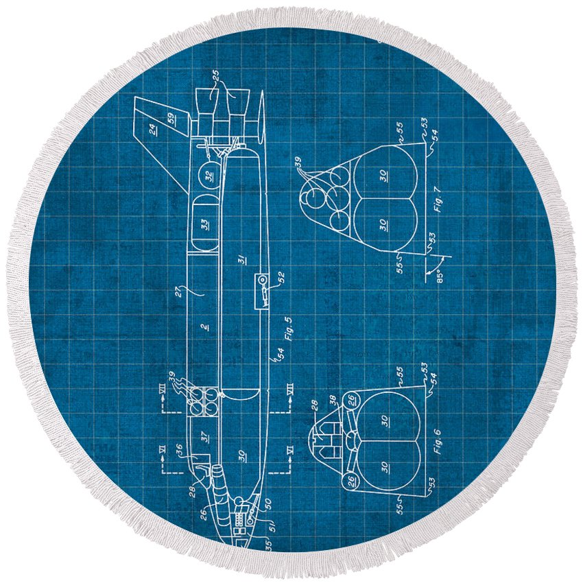 Nasa space shuttle vintage patent diagram blueprint round beach nasa round beach towel featuring the mixed media nasa space shuttle vintage patent diagram blueprint by malvernweather Image collections