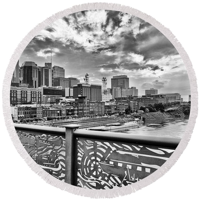 Nashville Round Beach Towel featuring the photograph Nashville From The Shelby Bridge by Diana Powell