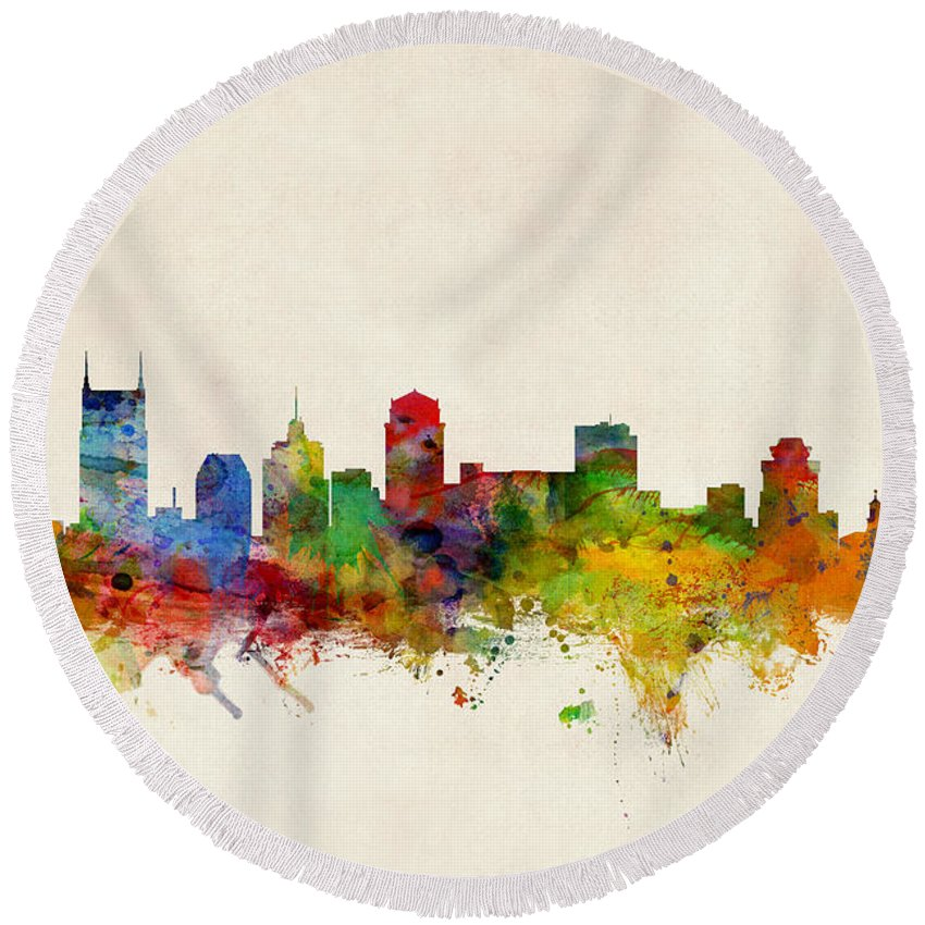 Nashville Skyline Round Beach Towels