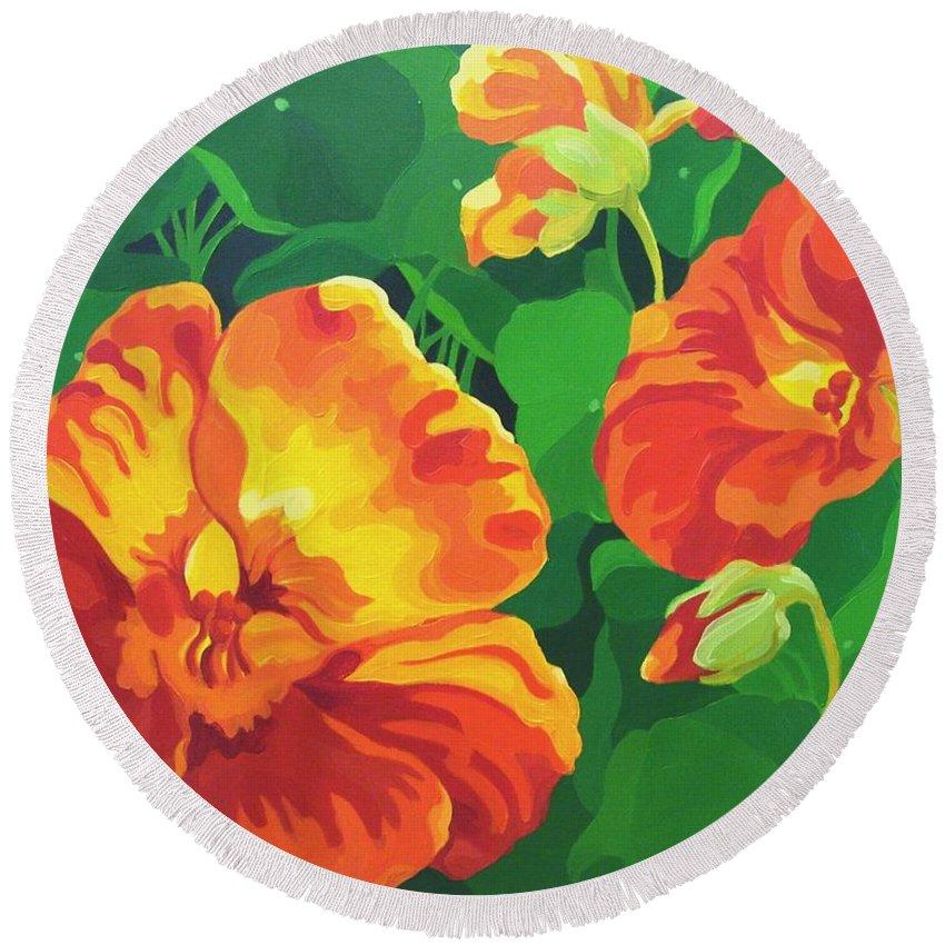 Flower Paintings Round Beach Towel featuring the painting Nasturtiums by Karen Ilari
